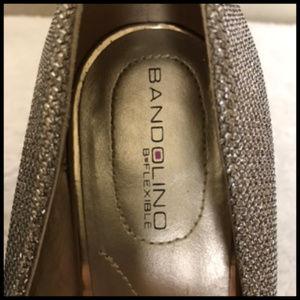 Bandolino Shoes - Sparkle Glitter Gold Mesh Peep Toe Heels Size 9M